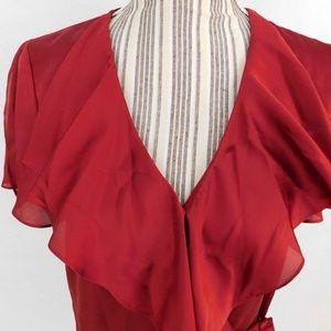 Ralph Lauren Wrap Top Short Sleeve Ruffle Collar